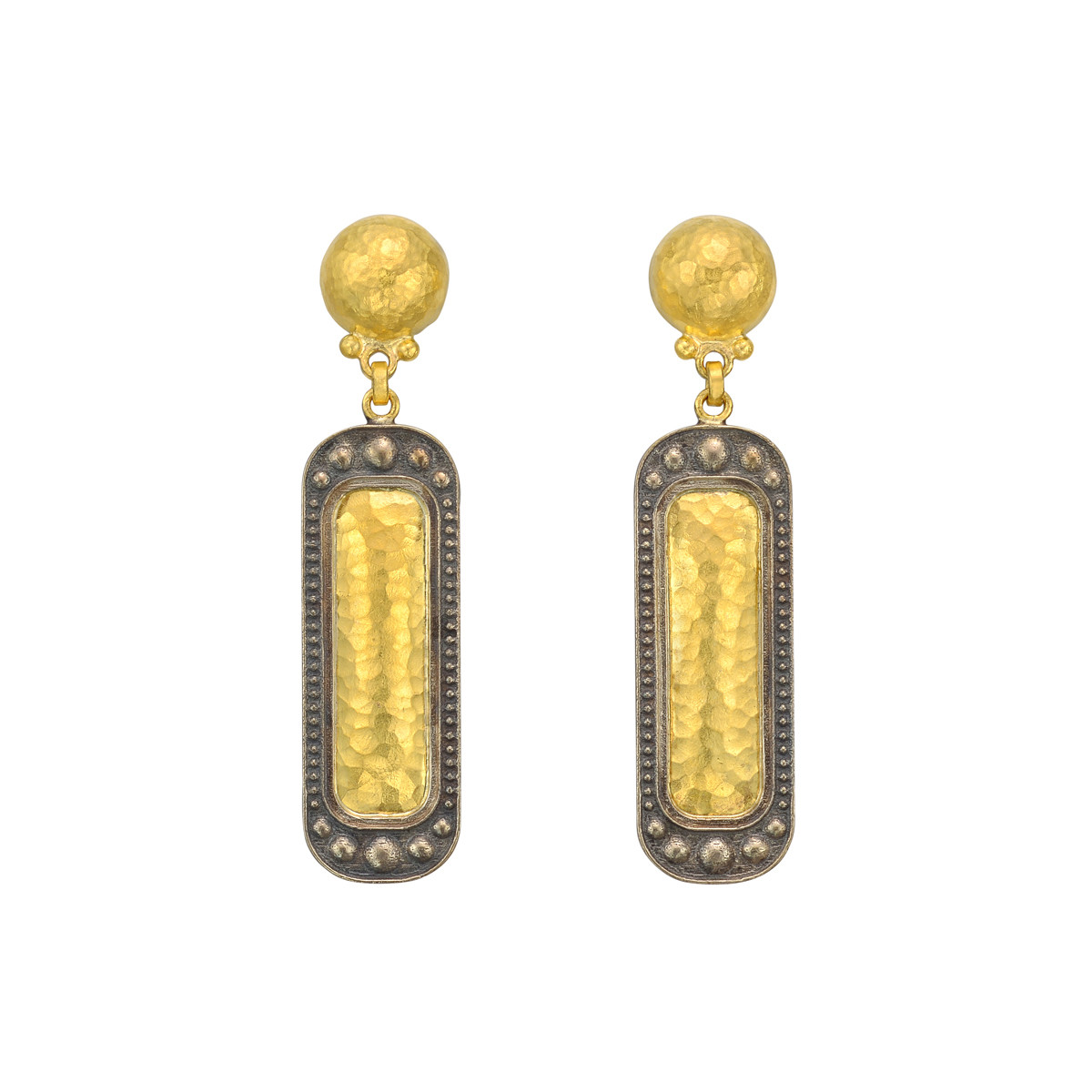 24k Yellow & 18k White Gold Rectangular Drop Earrings