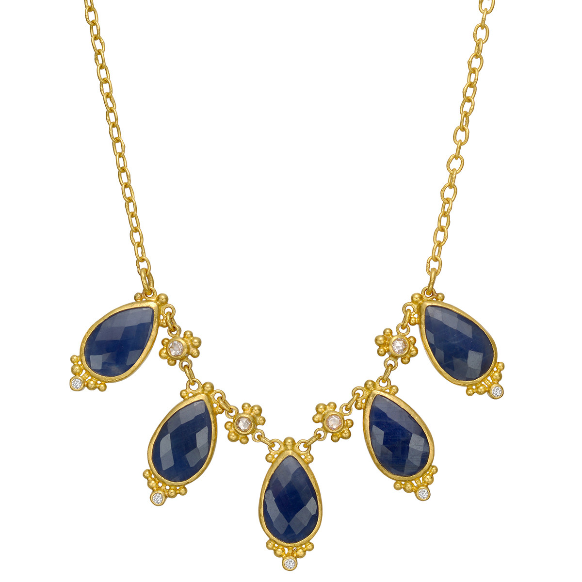 """22k Yellow Gold & Sapphire """"Elements"""" Necklace"""