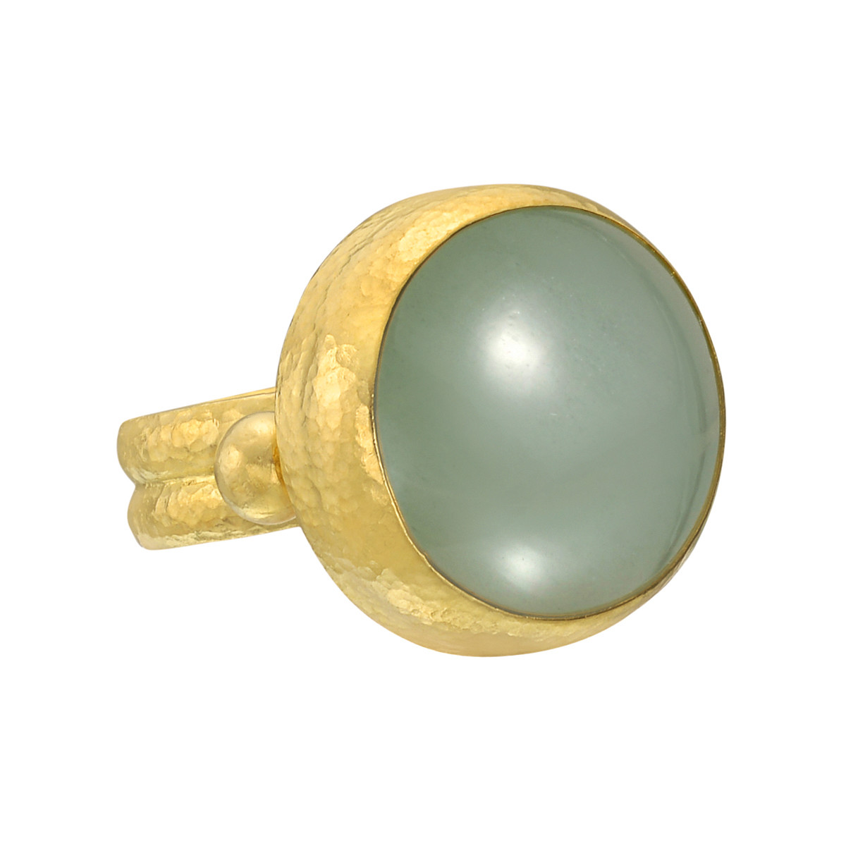 24k Yellow Gold & Green Aquamarine Ring