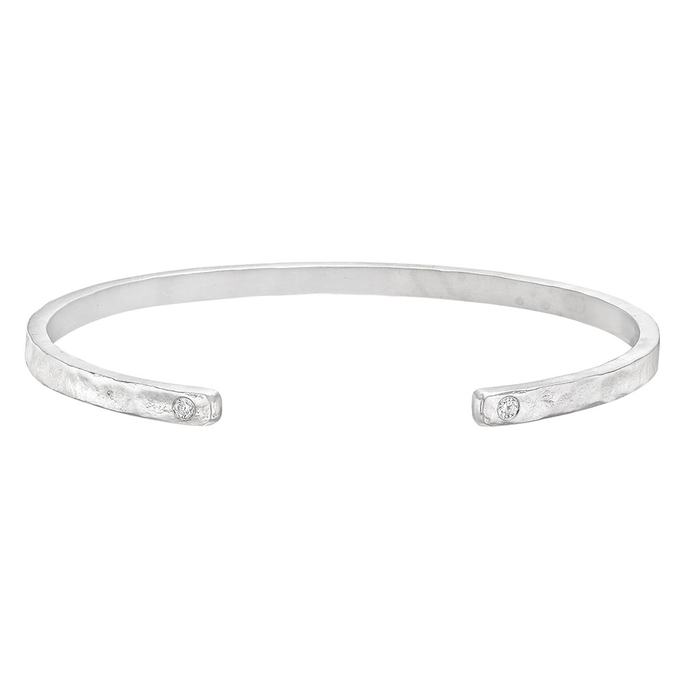 Hammered 18k White Gold Cuff Bracelet