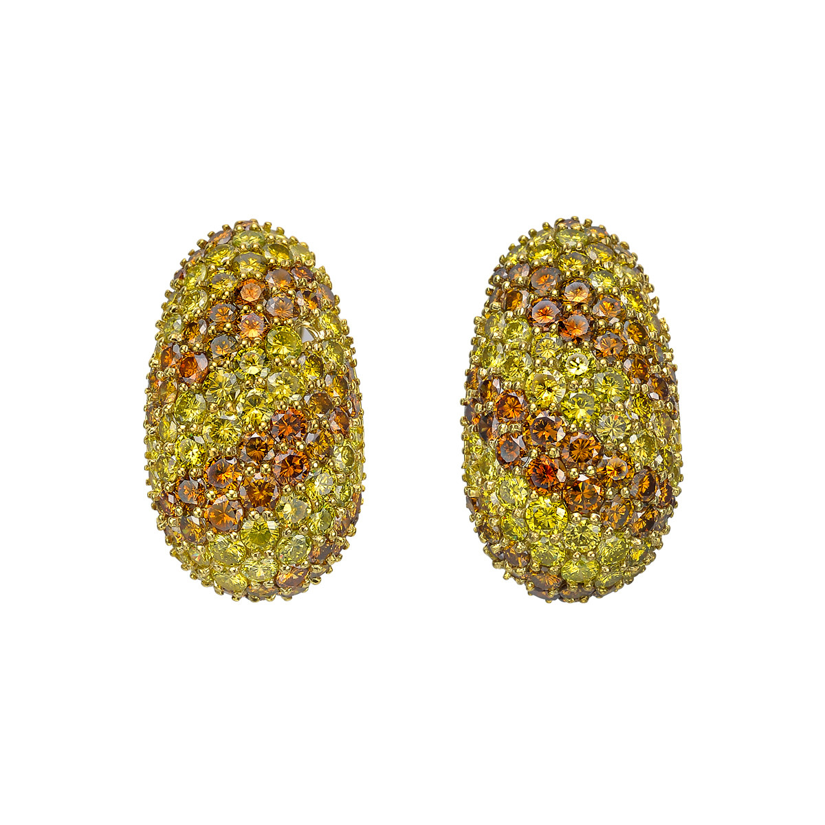 Pavé Yellow & Brown Diamond Earrings