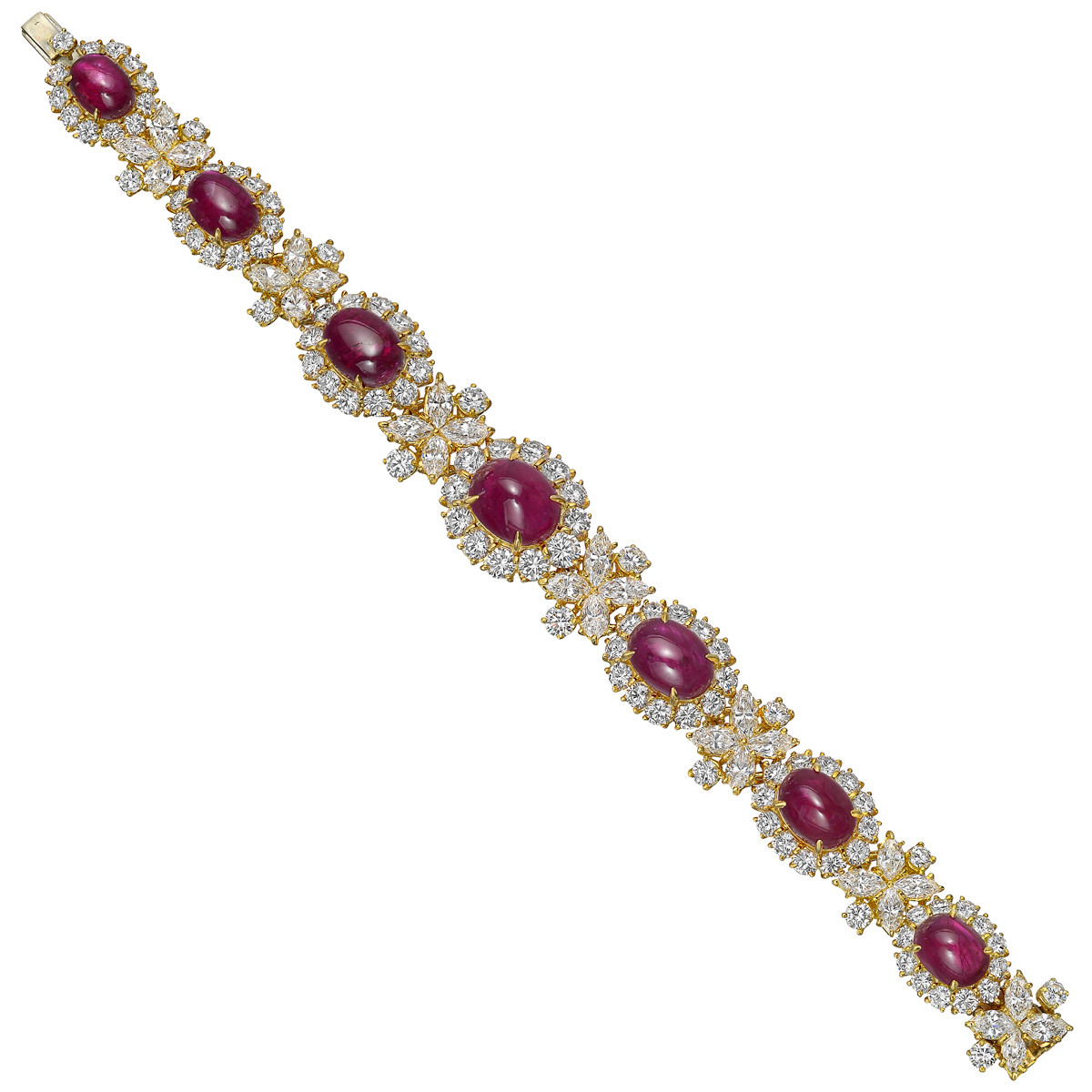Ruby & Diamond Cluster Bracelet