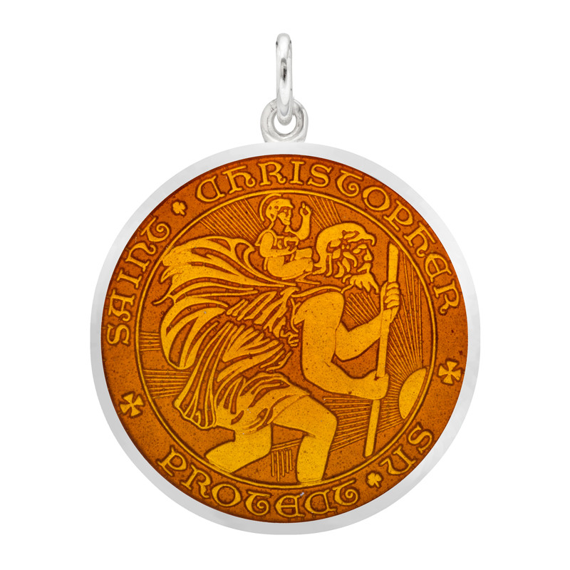 Large Silver St. Christopher Medal with Topaz Enamel