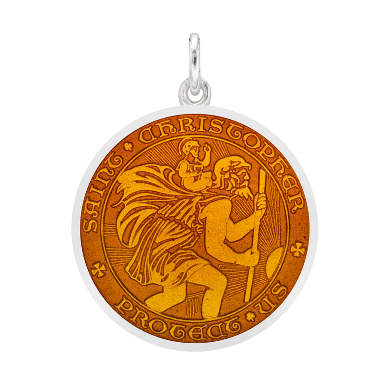Medium Silver St. Christopher Medal with Topaz Enamel
