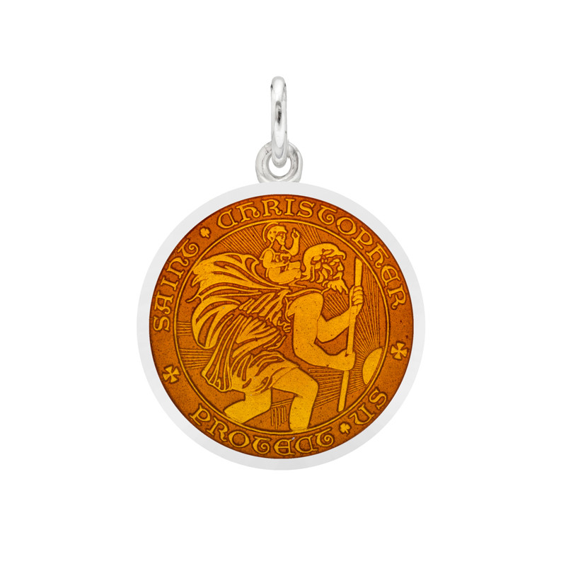 Small Silver St. Christopher Medal with Topaz Enamel