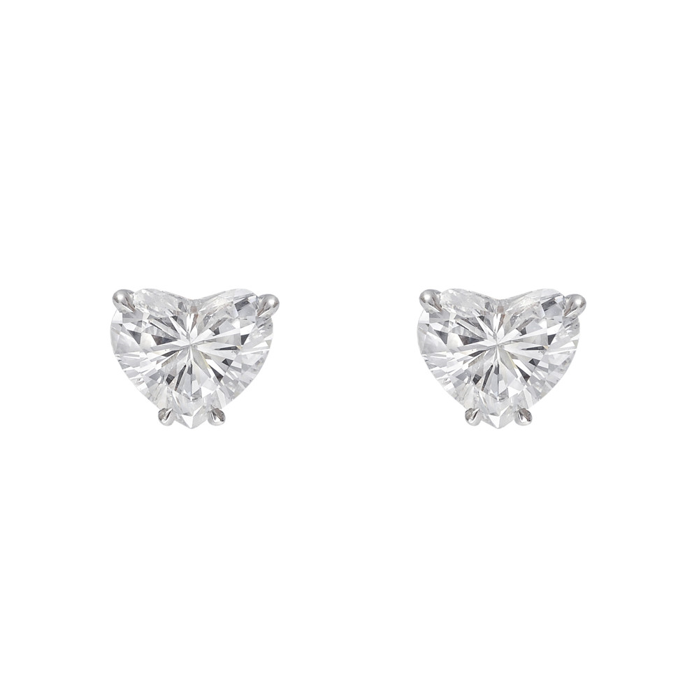 Heart Shaped Diamond Stud Earrings 1 95 Ct Tw