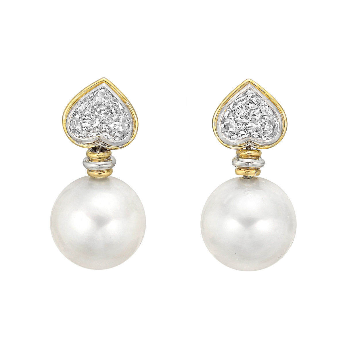 South Sea Pearl & Heart Diamond Drop Earrings