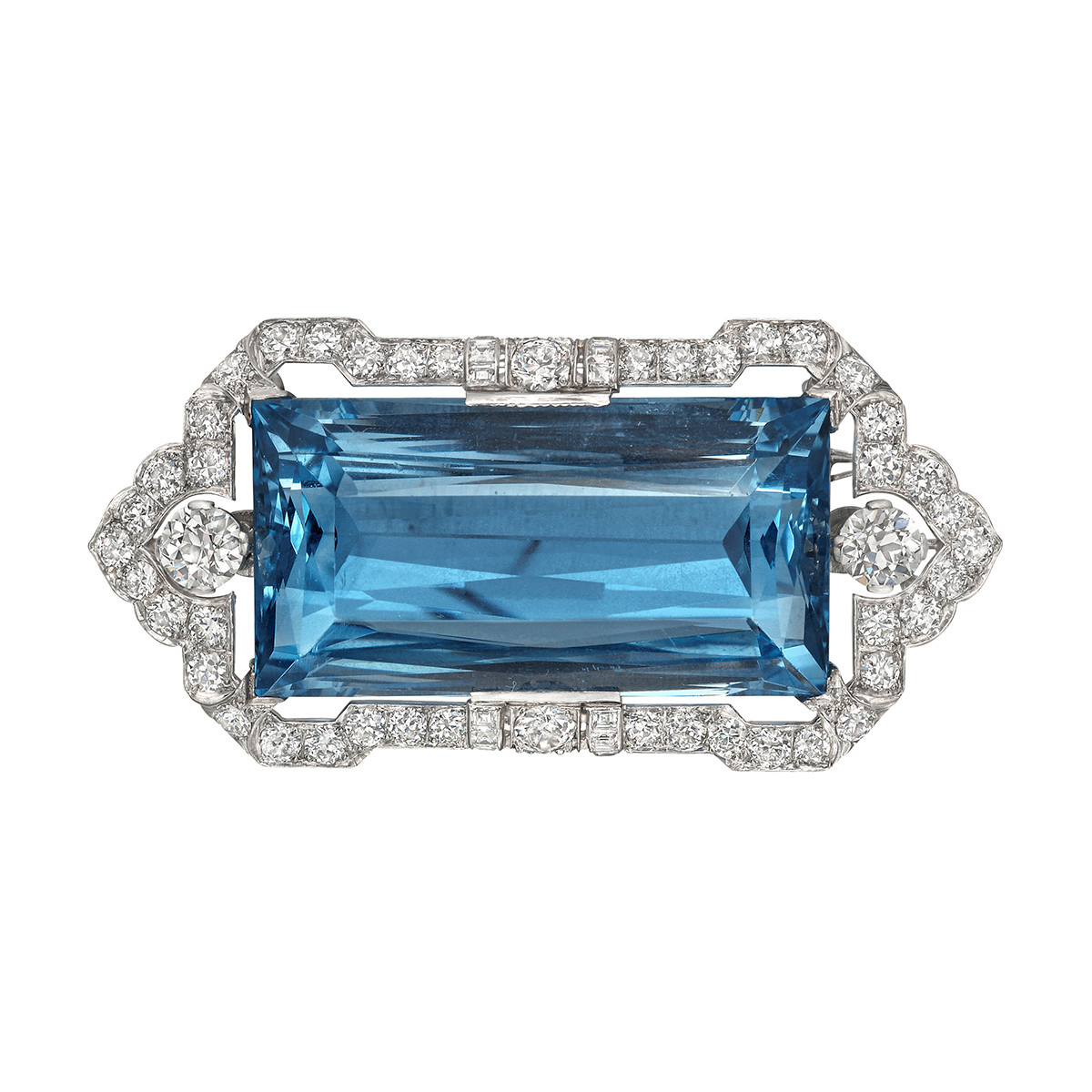 Hennell 52ct Emerald-Cut Aquamarine & Diamond Pin