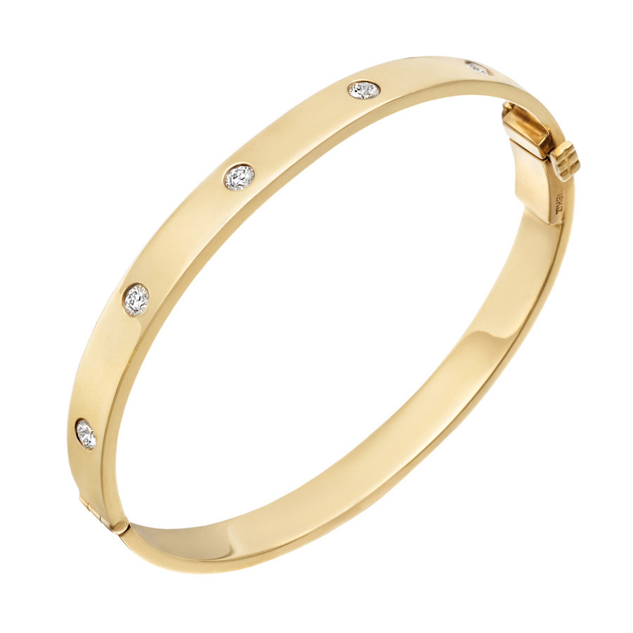 18k Yellow Gold & Five Diamond Hinged Bangle