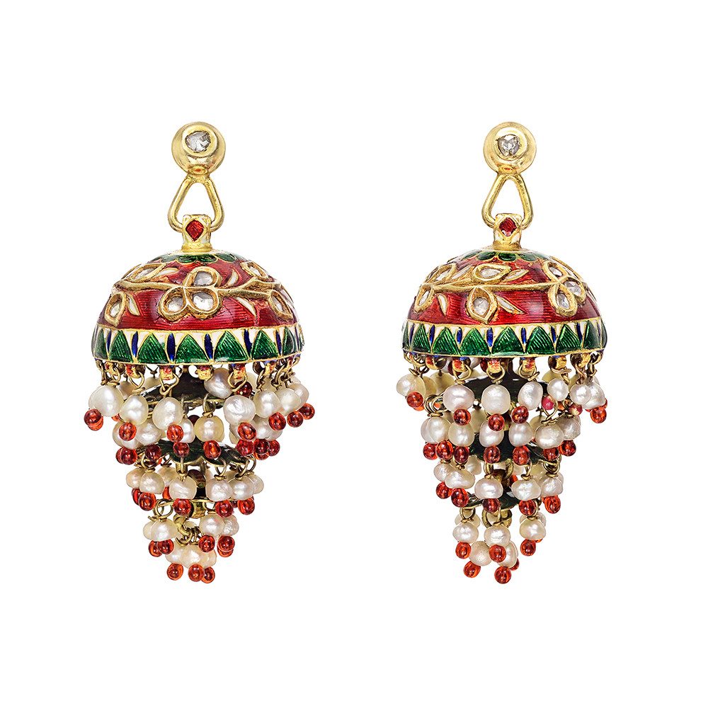 Indian gold enamel diamond pearl cupola earrings betteridge indian gold enamel diamond pearl cupola earrings chandelier earrings aloadofball Image collections
