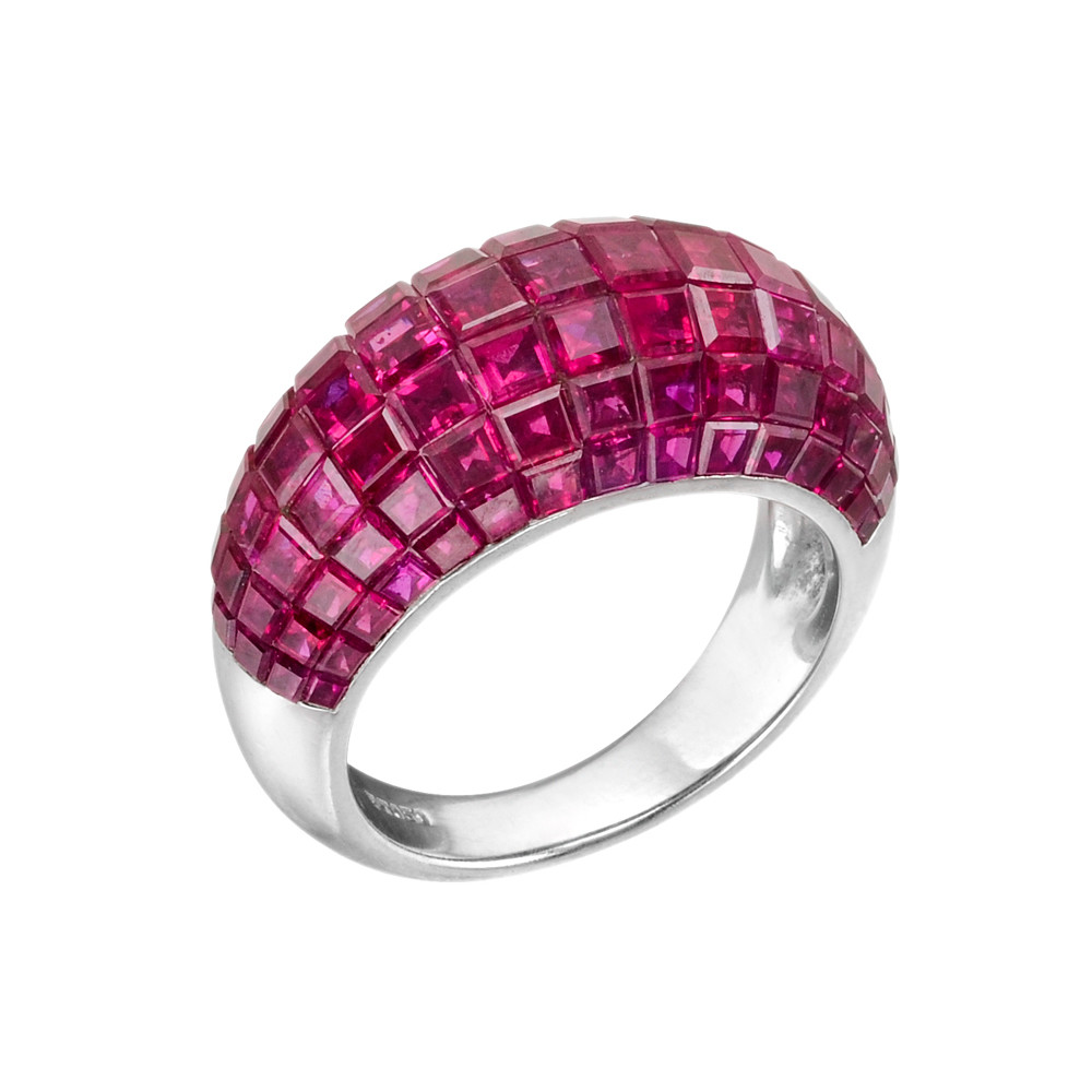 Invisibly-Set Ruby Bombé Band Ring