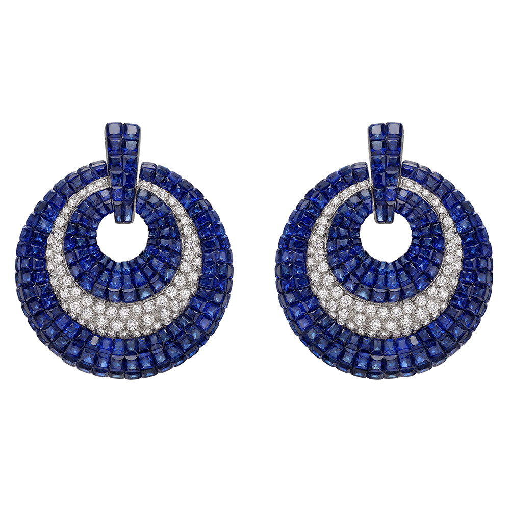 Invisibly-Set Sapphire & Diamond Door Knocker Earrings