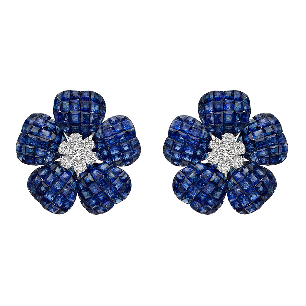 ​Large Invisibly-Set Sapphire & Diamond Flower Earrings