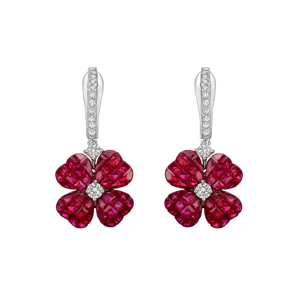 2bdff6341 Four-leaf clover drop earrings, designed as an invisibly-set calibre-cut  ruby clover centering a round brilliant-cut diamond, suspended from a  diamond-set ...