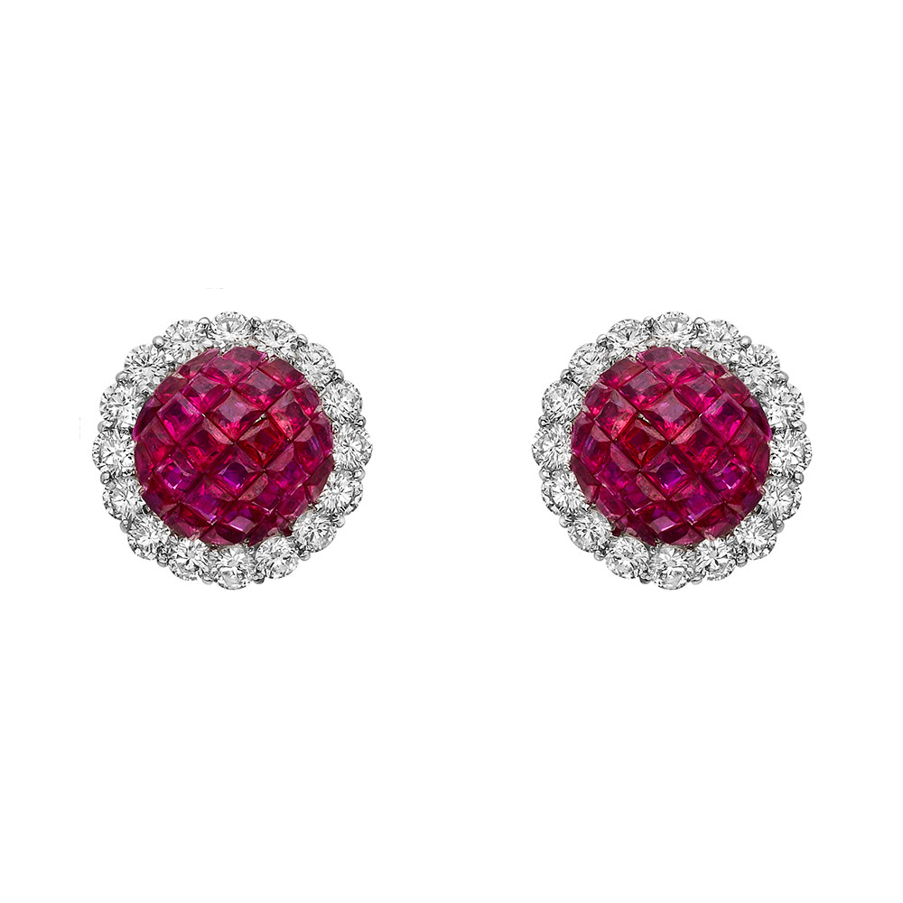 2e7009fe0 Domed stud earrings, showcasing an invisibly-set calibre-cut ruby dome  framed by round-cut diamonds, mounted in 18k white gold. Rubies weighing  7.20 total ...