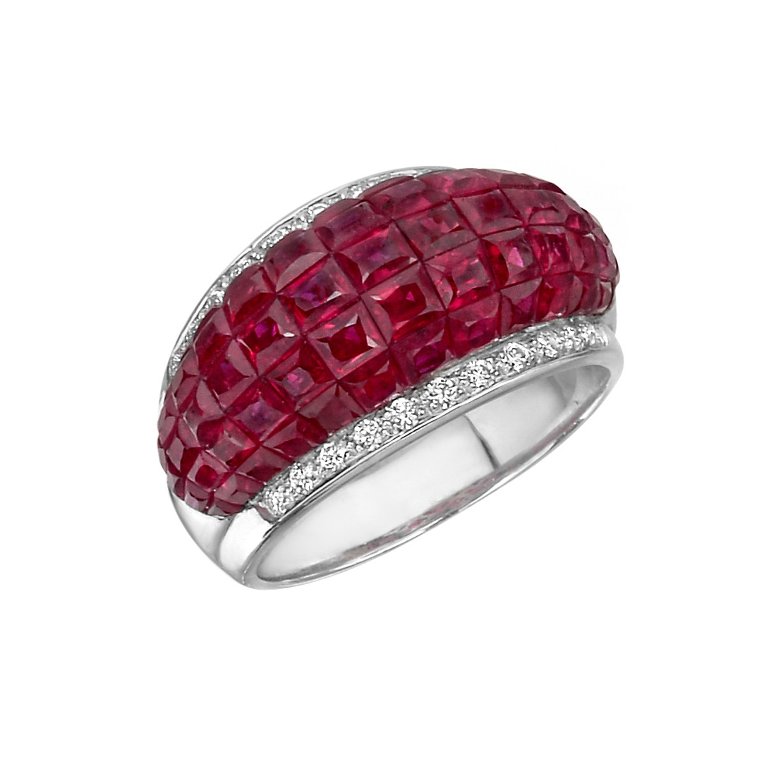 Invisibly-Set Ruby & Diamond Band Ring