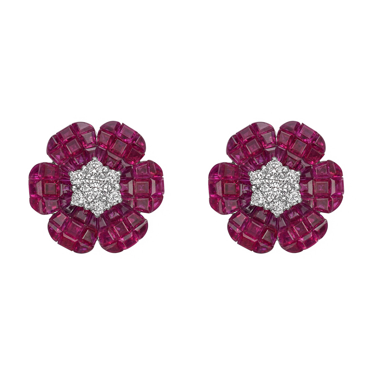 Invisibly-Set Ruby & Diamond Flower Earrings