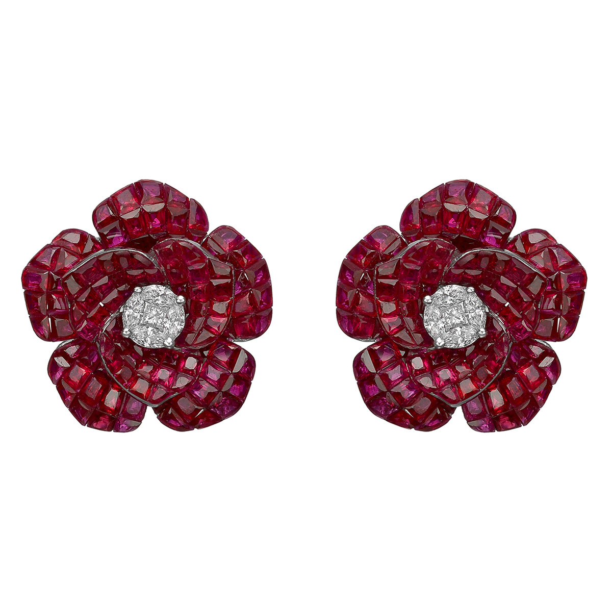 Medium Invisibly-Set Ruby & Diamond Flower Earrings