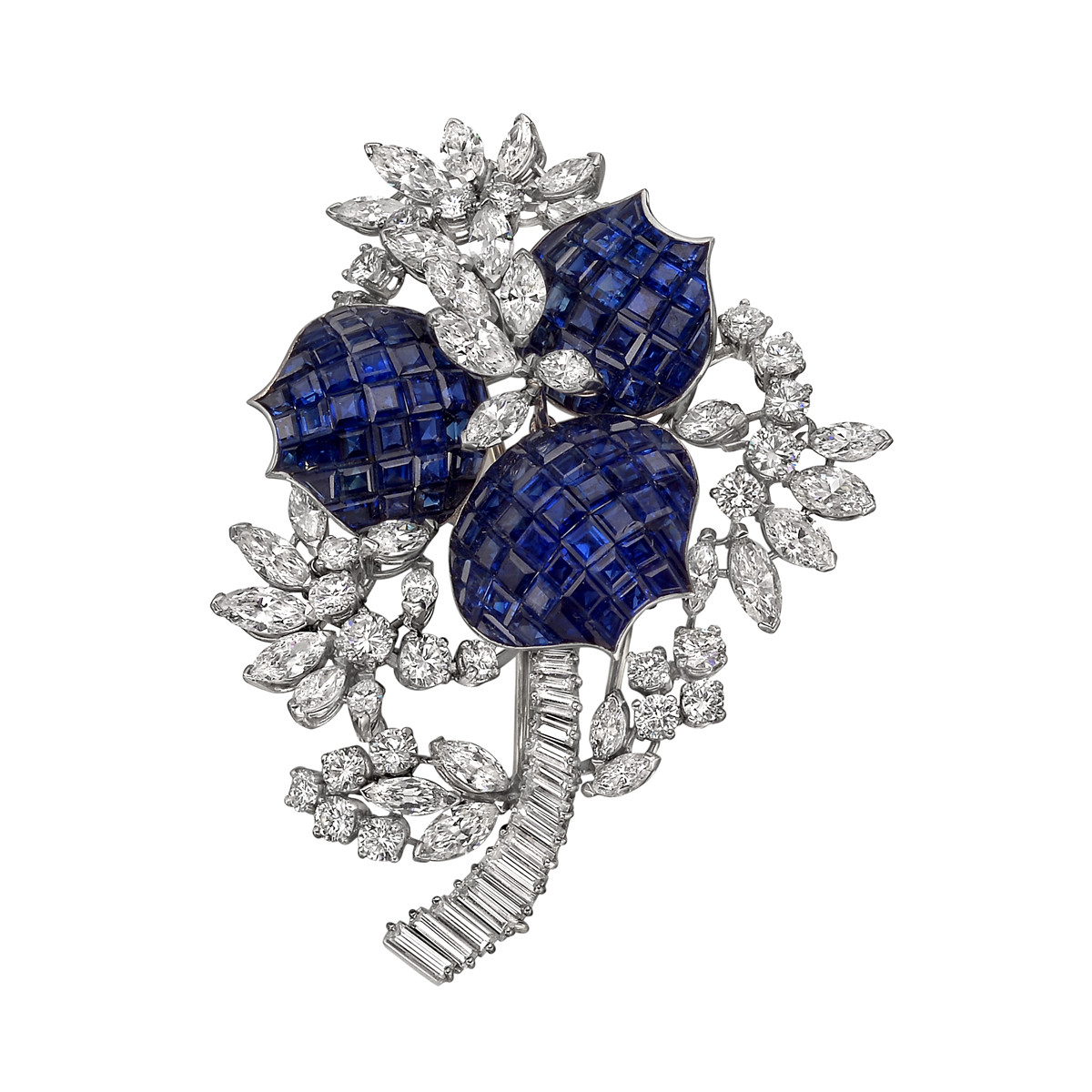 Invisibly-Set Sapphire & Diamond Flower Brooch