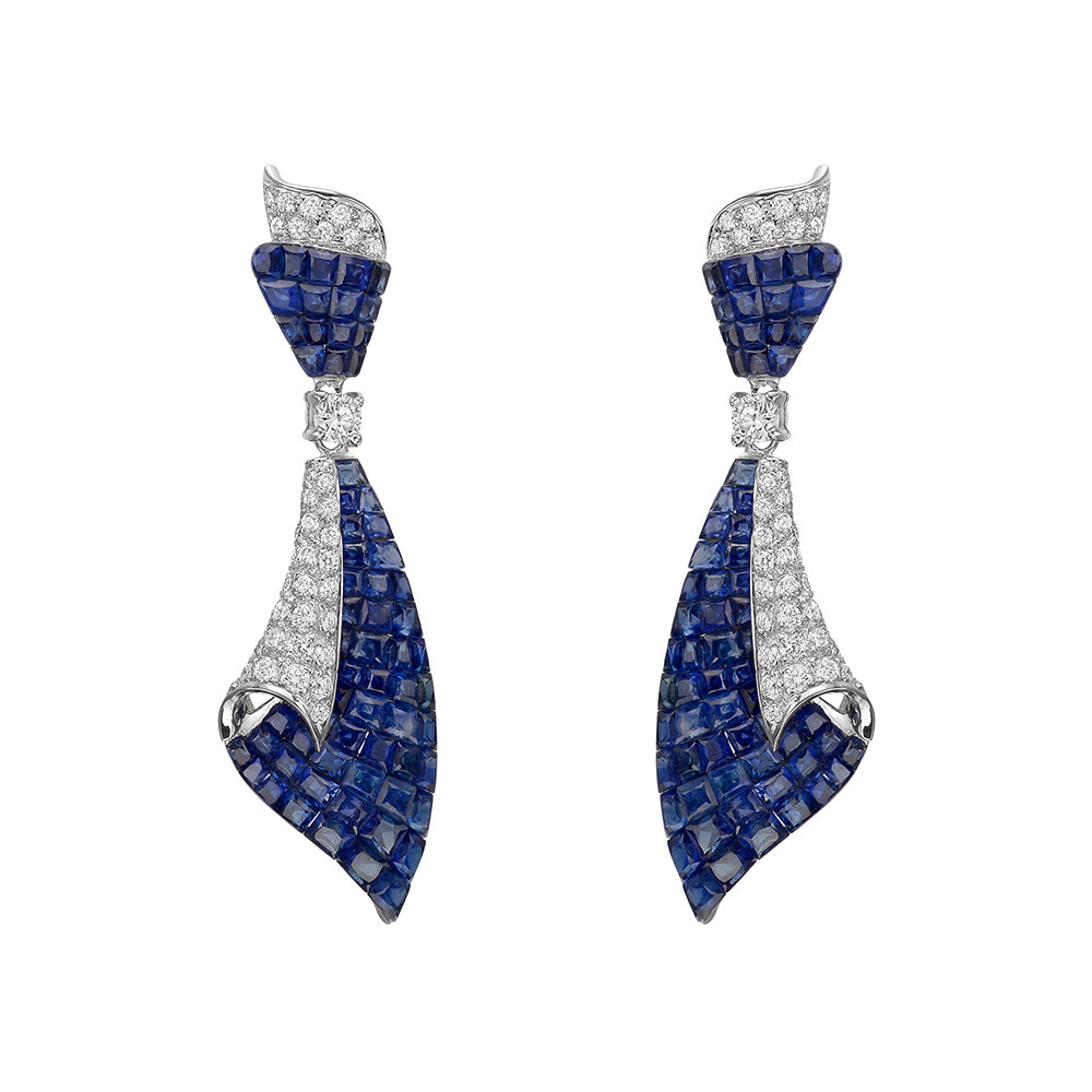 Invisibly-Set Sapphire & Diamond Drop Earrings
