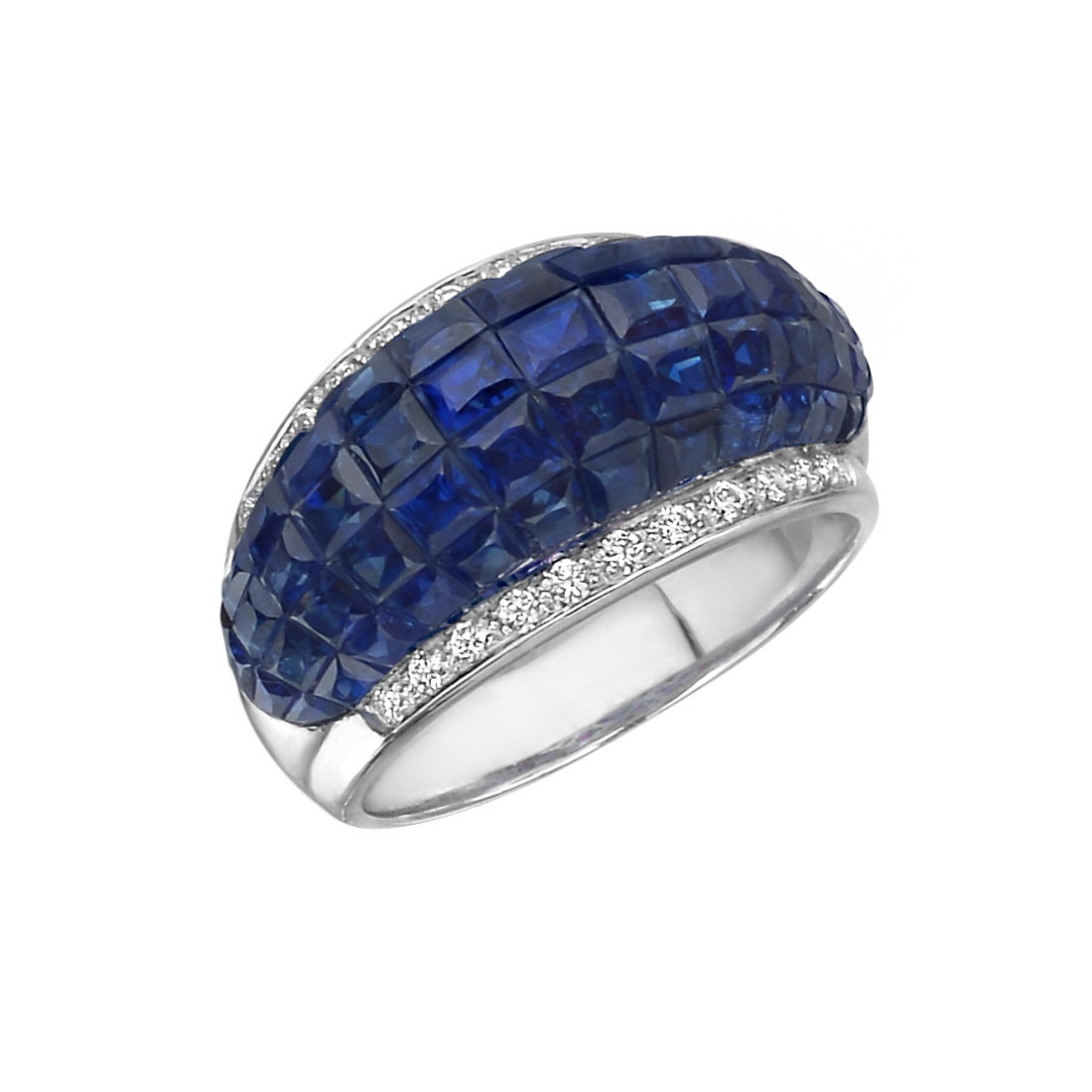 Invisibly-Set Sapphire & Diamond Band Ring