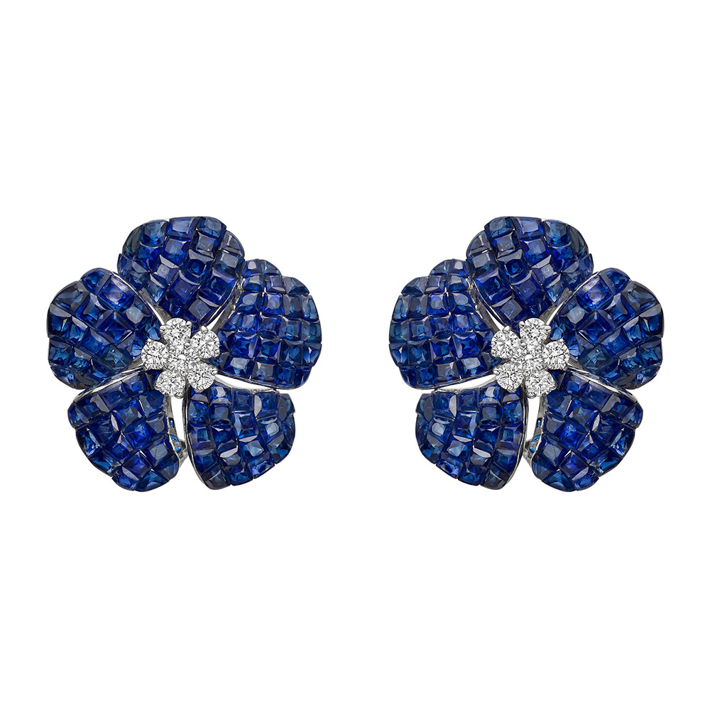 Medium Invisibly-Set Sapphire & Diamond Flower Earrings