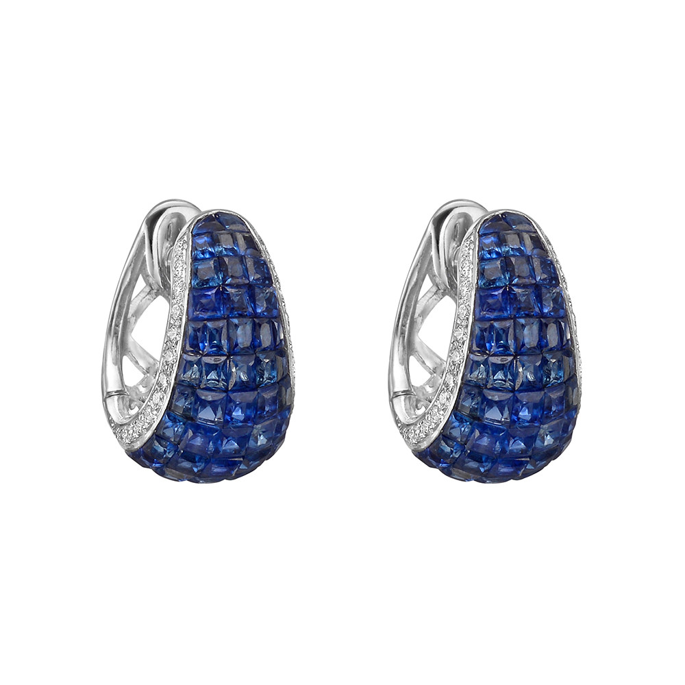 Invisibly-Set Sapphire & Diamond Hoop Earrings