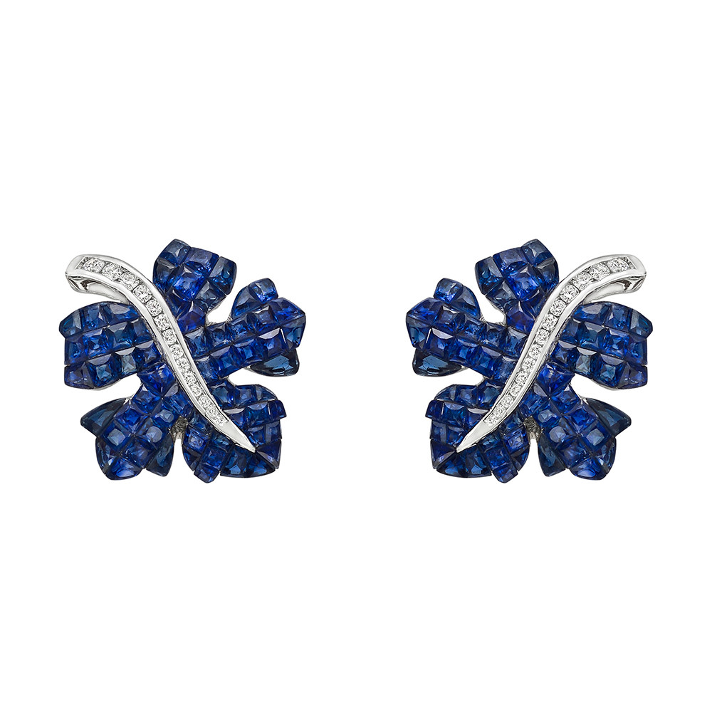 Invisibly-Set Sapphire & Diamond Leaf Earrings