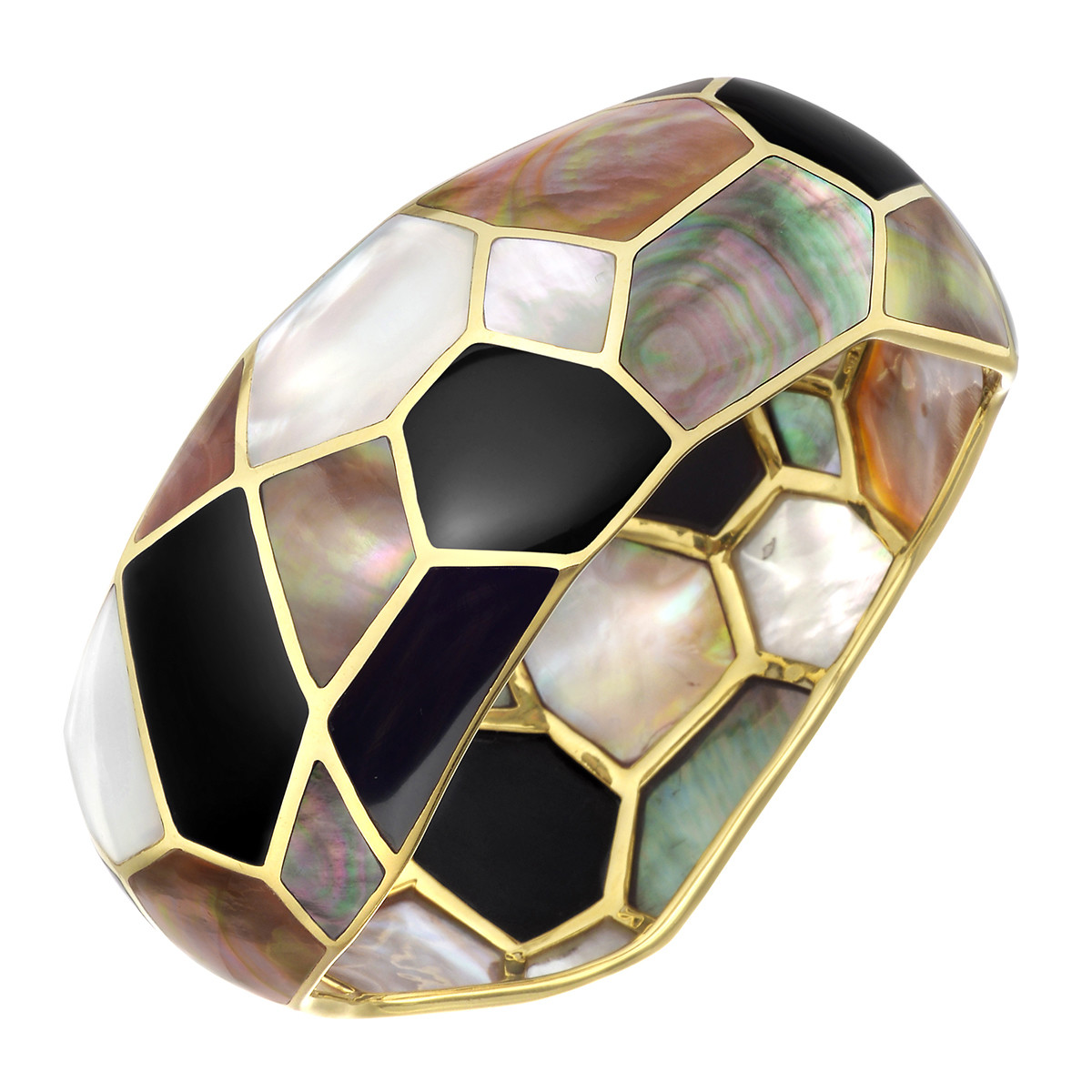 Mother-of-Pearl & Onyx Mosaic Bangle