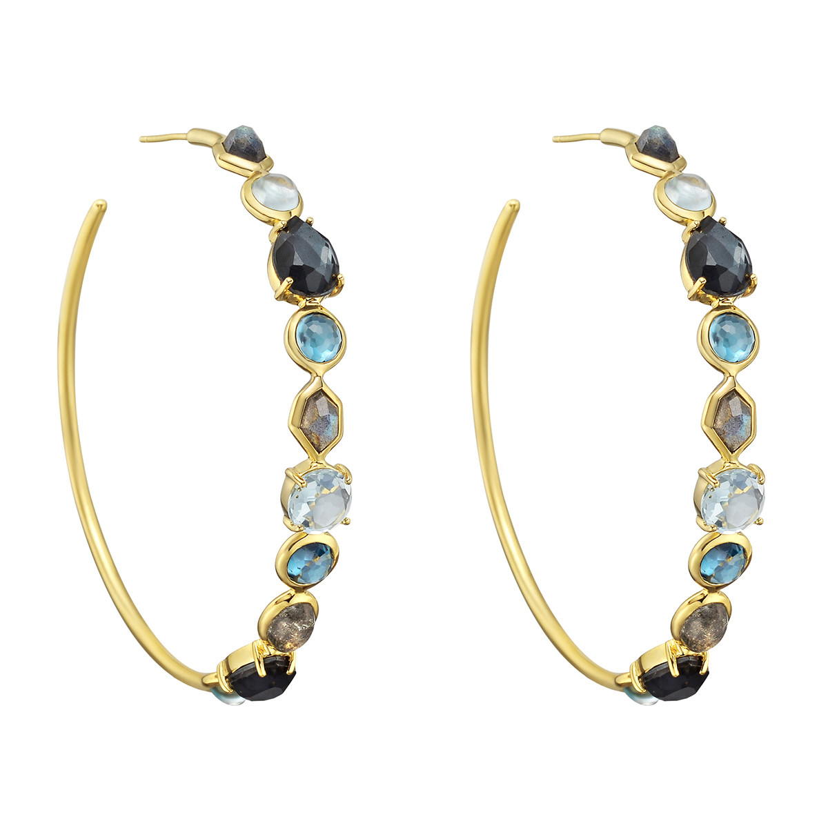 18k Yellow Gold Gem Set Rock Candy Hoop Earrings