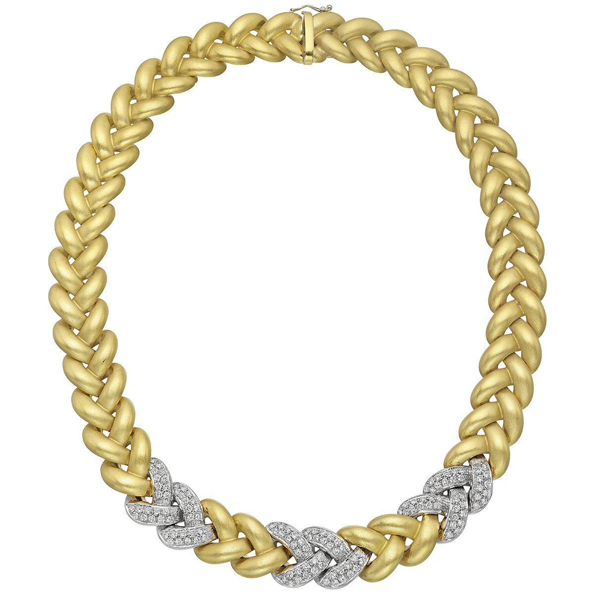Italian 18k Gold & Diamond Link Necklace