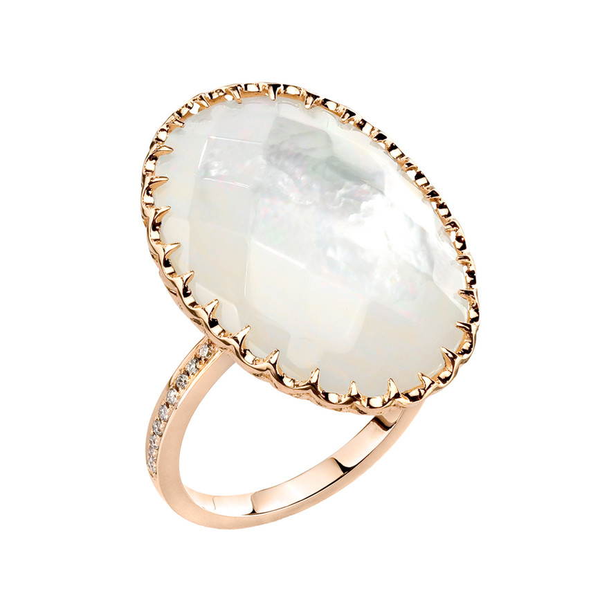 Oval Mother Of Pearl Cocktail Ring In 18k Rose Gold With Partway Pavé Set  Diamond Band. Round Cut Diamonds Weighing 0.14 Total Carats. Designed By  Ivanka ...