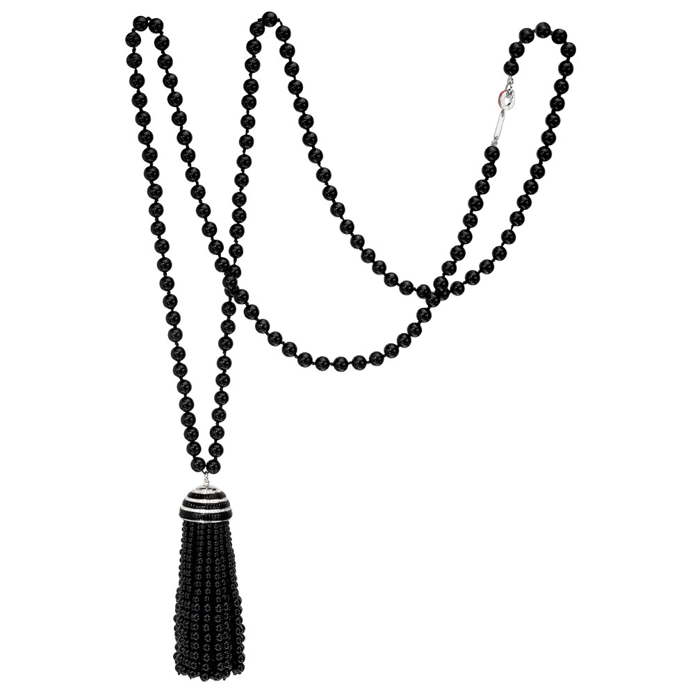 268acf238694c6 Black onyx bead tassel pendant in 18k white gold, accented by round  brilliant cut diamonds. On a long black onyx bead chain with an 18k white  gold clasp.