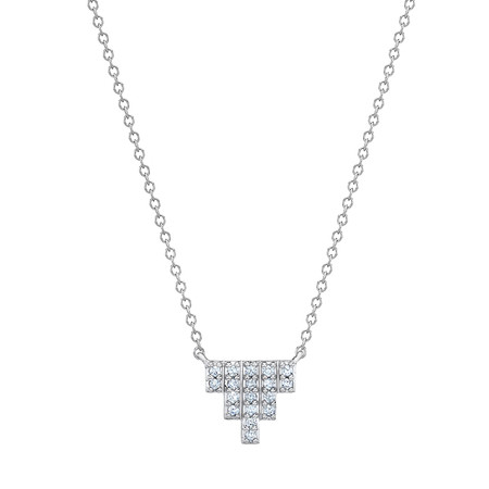 "18k White Gold & Diamond ""Empire"" Pendant Necklace"