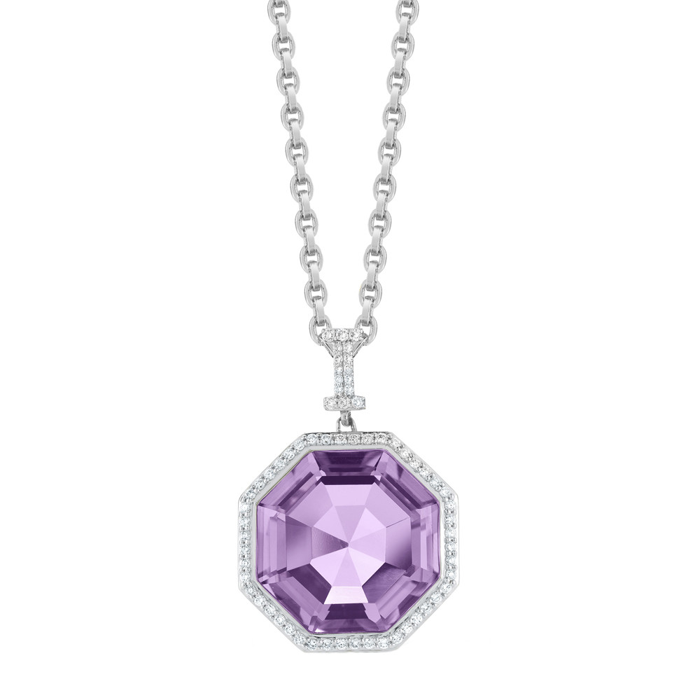 "Octagonal Amethyst & Diamond ""Empire"" Pendant Necklace"