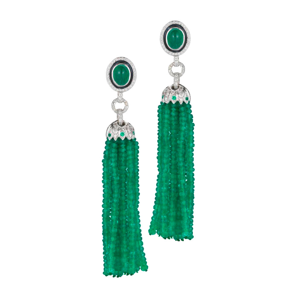 "Emerald & Diamond ""Lao Tong"" Tassel Earrings"