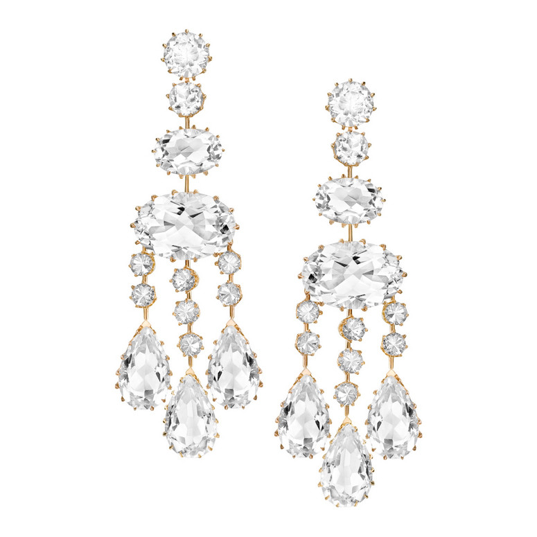 Long Rock Crystal Chandelier Earrings