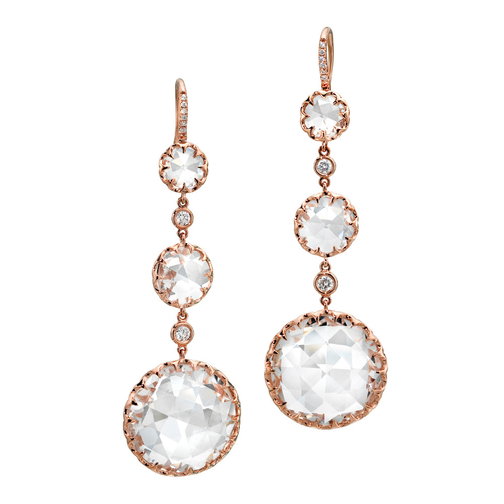 Long Rock Crystal & Diamond Drop Earrings