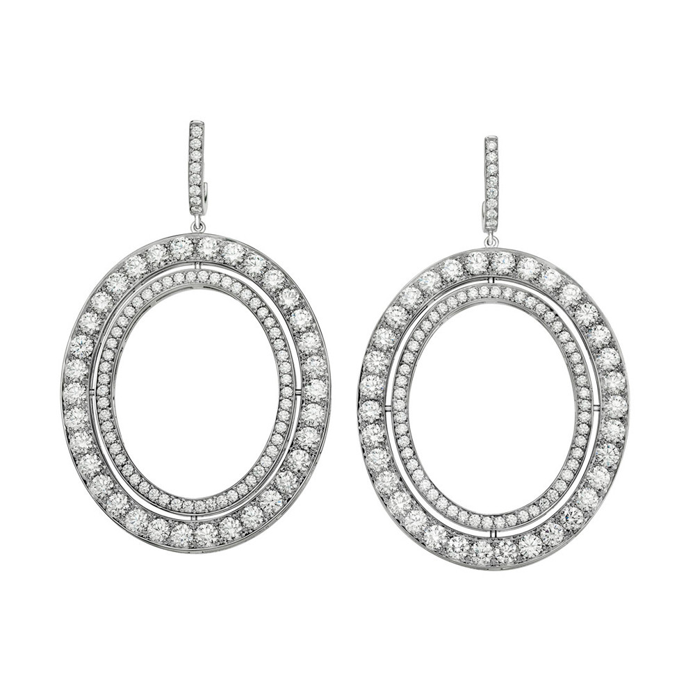 "Medium 18k White Gold & Diamond ""Signature"" Drop Earrings"