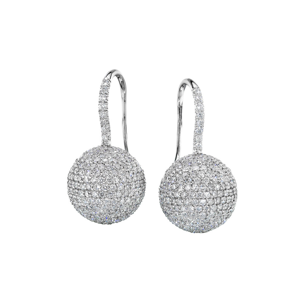 Pavé Diamond Ball Drop Earrings