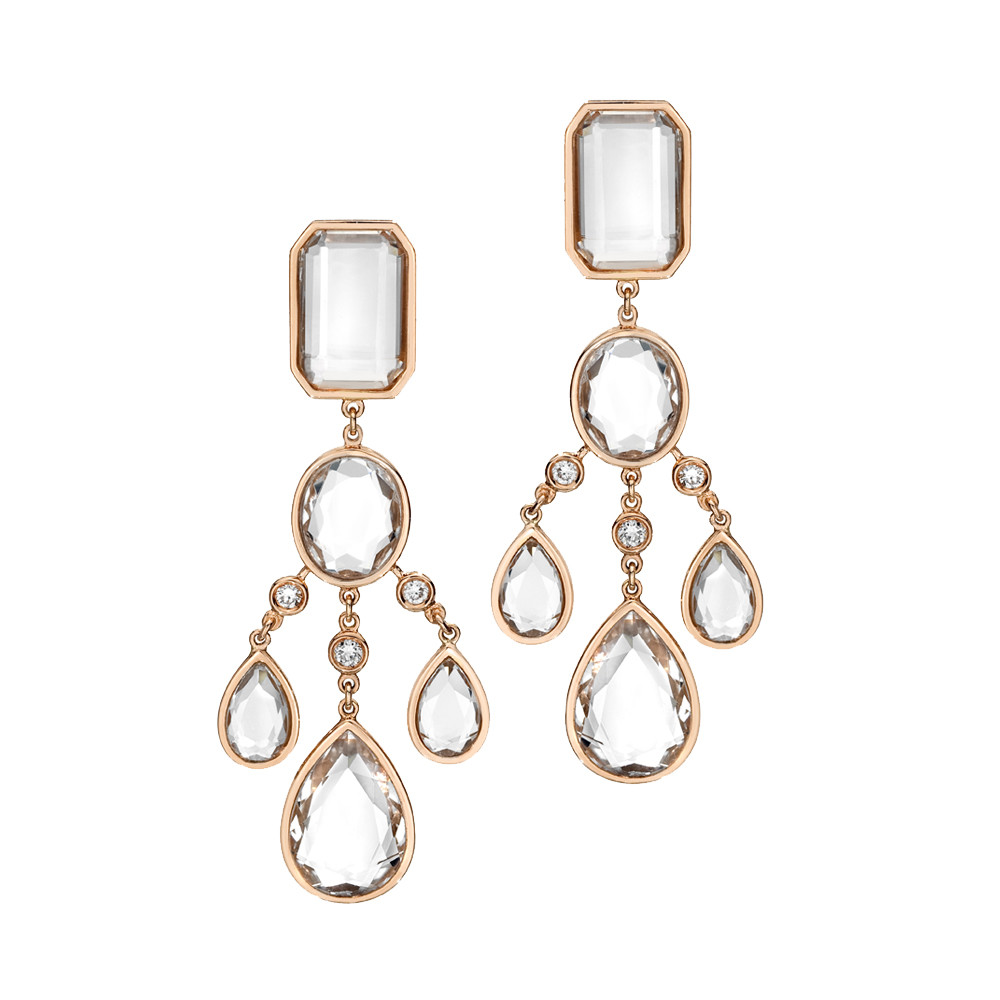 Ivanka trump mixed cut rock crystal chandelier earrings with mixed cut rock crystal long chandelier earrings in 18k rose gold accented by round brilliant cut diamonds 021 total carats of diamonds arubaitofo Image collections