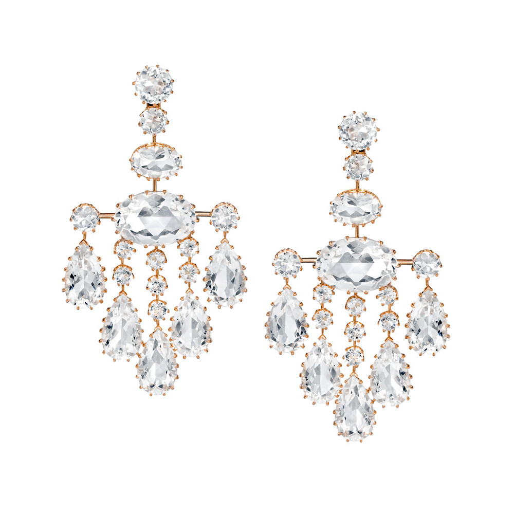 Ivanka trump large rock crystal chandelier earrings betteridge large rock crystal chandelier earrings in 18k rose gold antique style claw setting secure post with clip back closures designed by ivanka trump arubaitofo Image collections