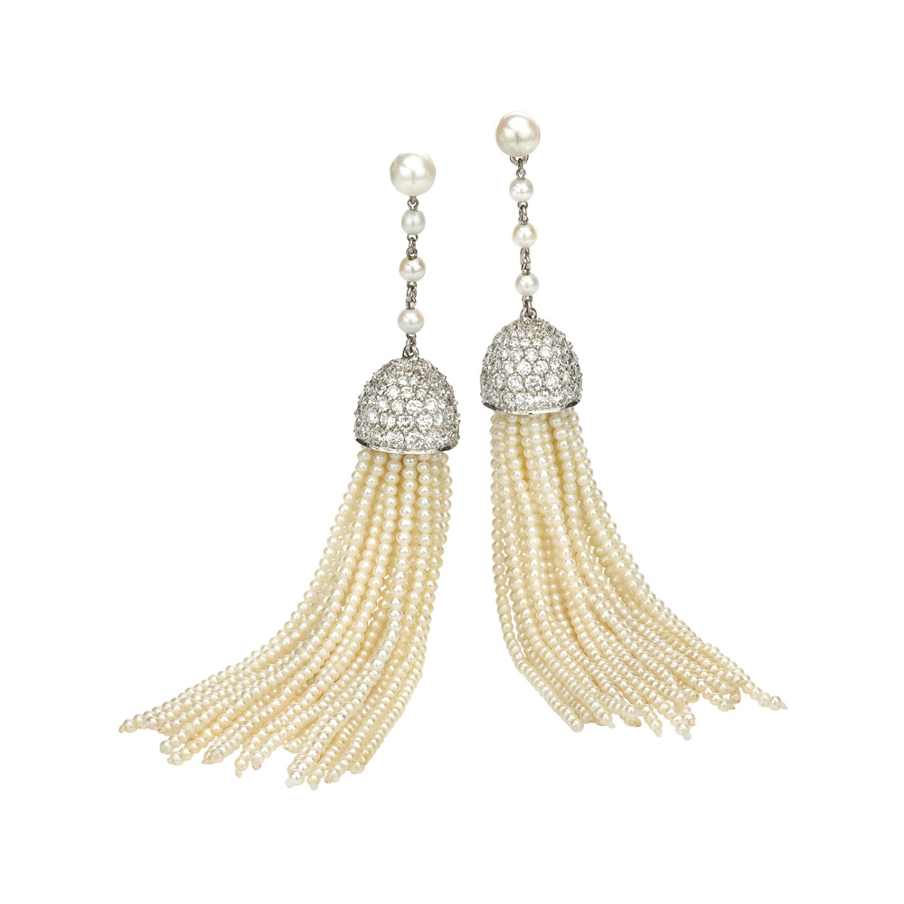 Seed Pearl & Diamond Tassel Earrings