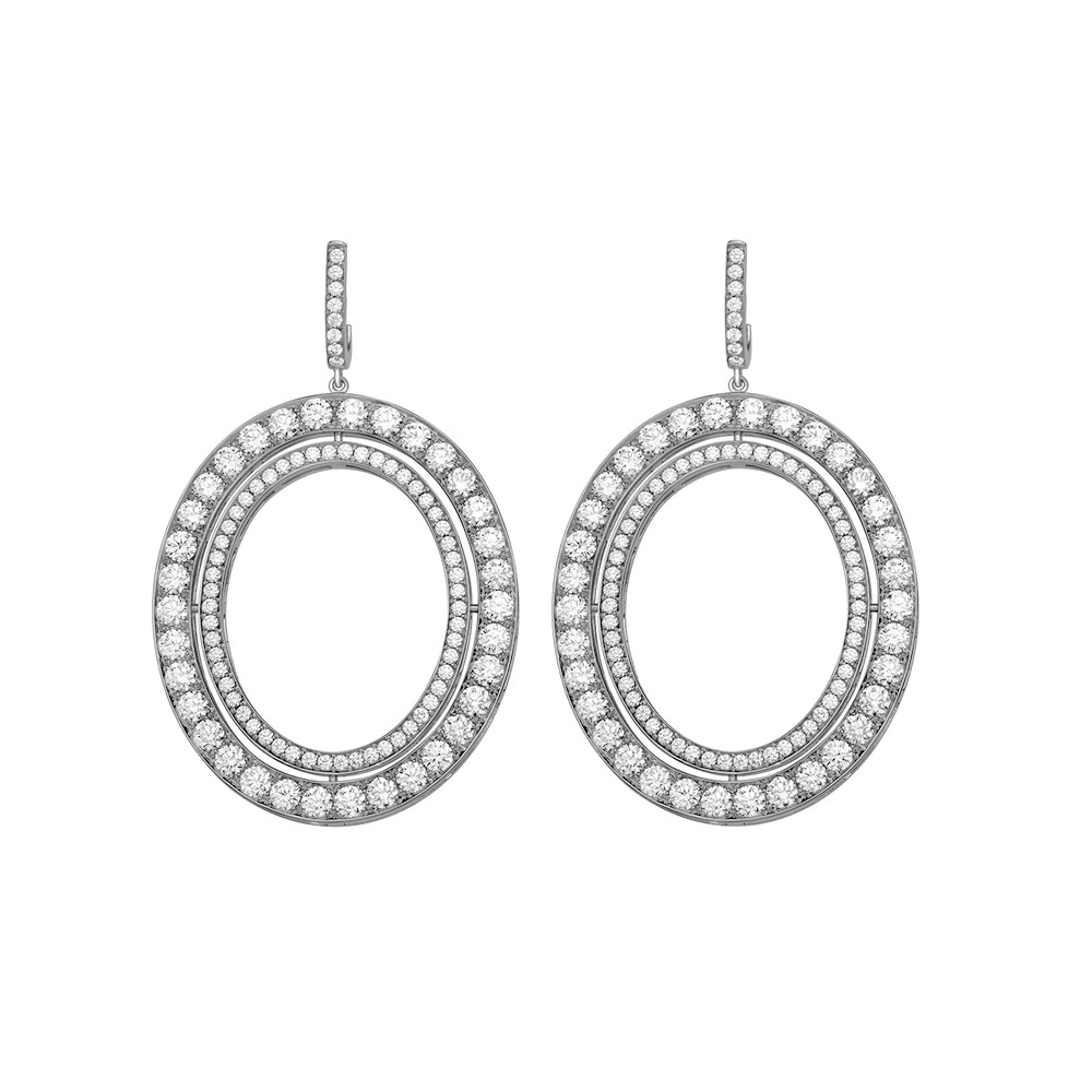 "Small 18k White Gold & Diamond ""Signature"" Drop Earrings"