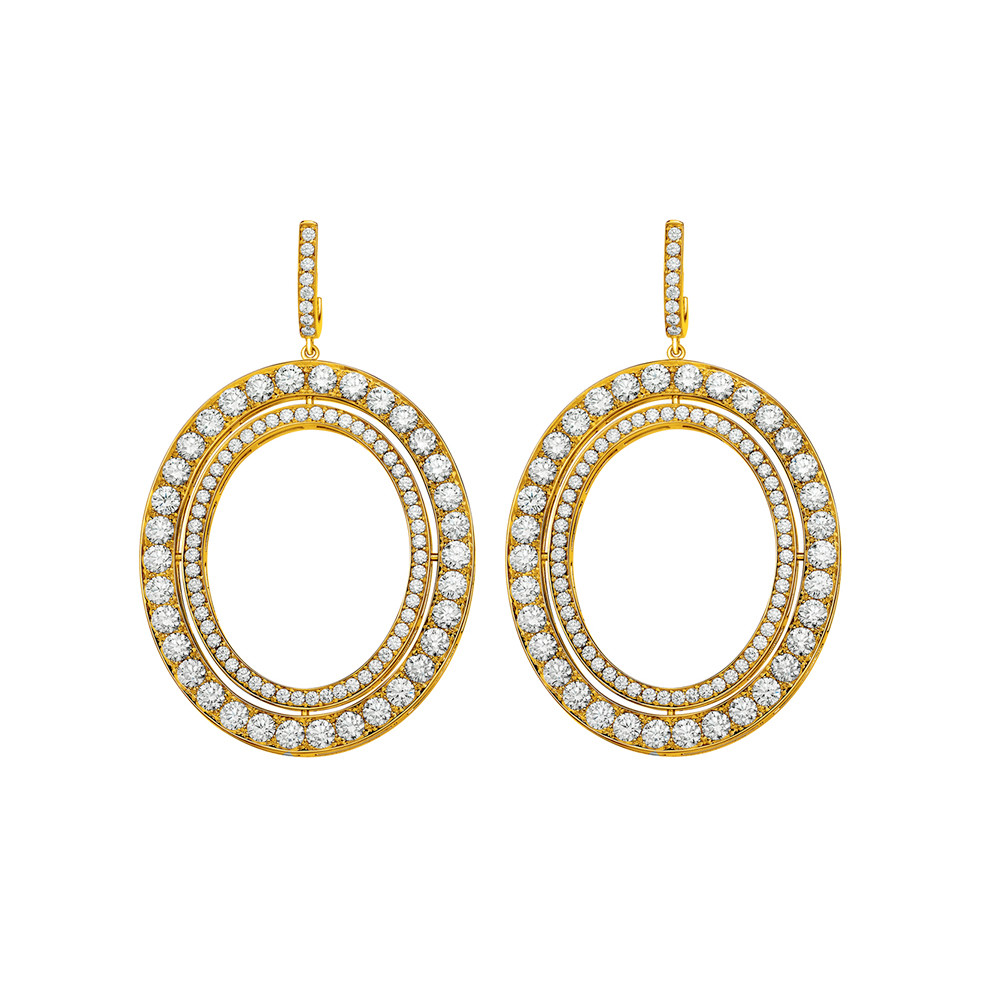 "18k Yellow Gold & Diamond ""Signature"" Drop Earrings"