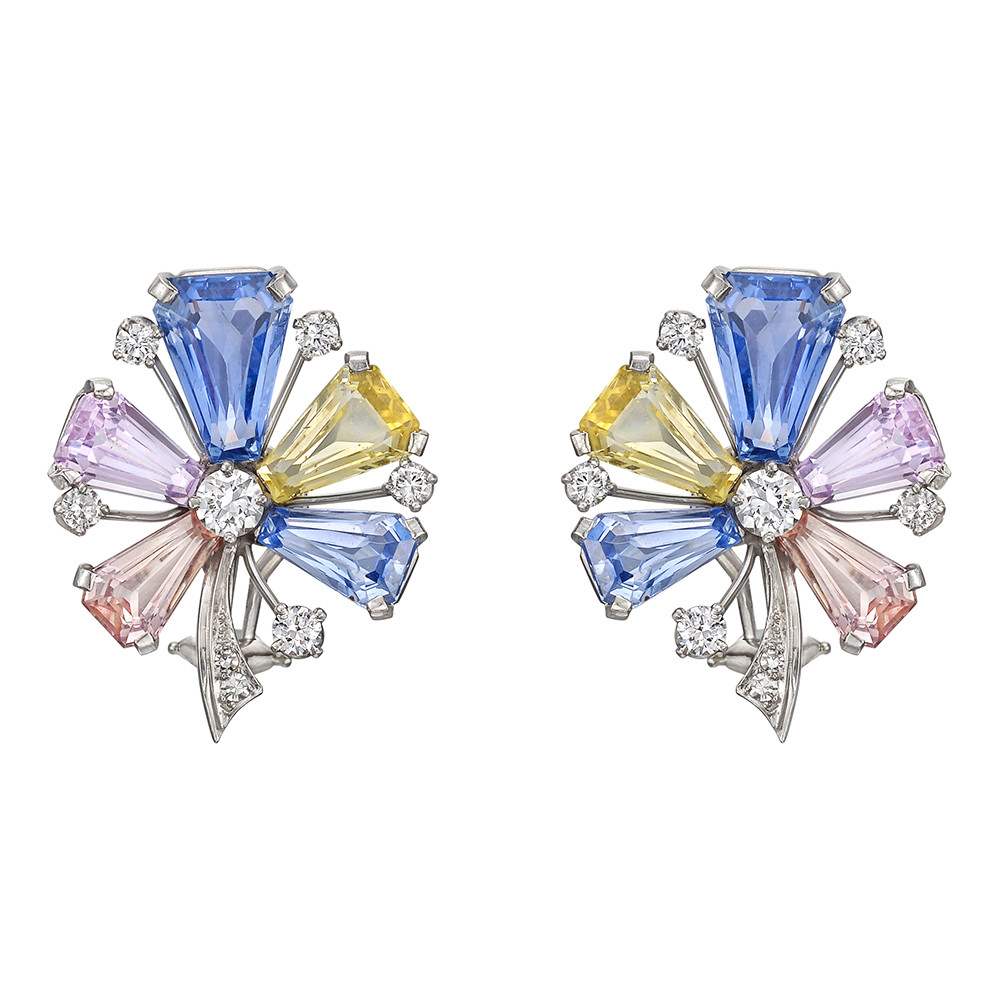 Multicolored Sapphire & Diamond Flower Earclips