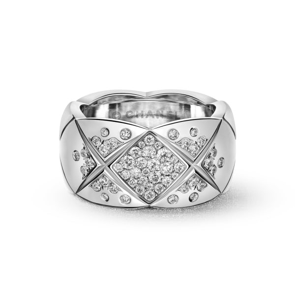 "18k White Gold & Diamond ""Coco Crush"" Wide Band"