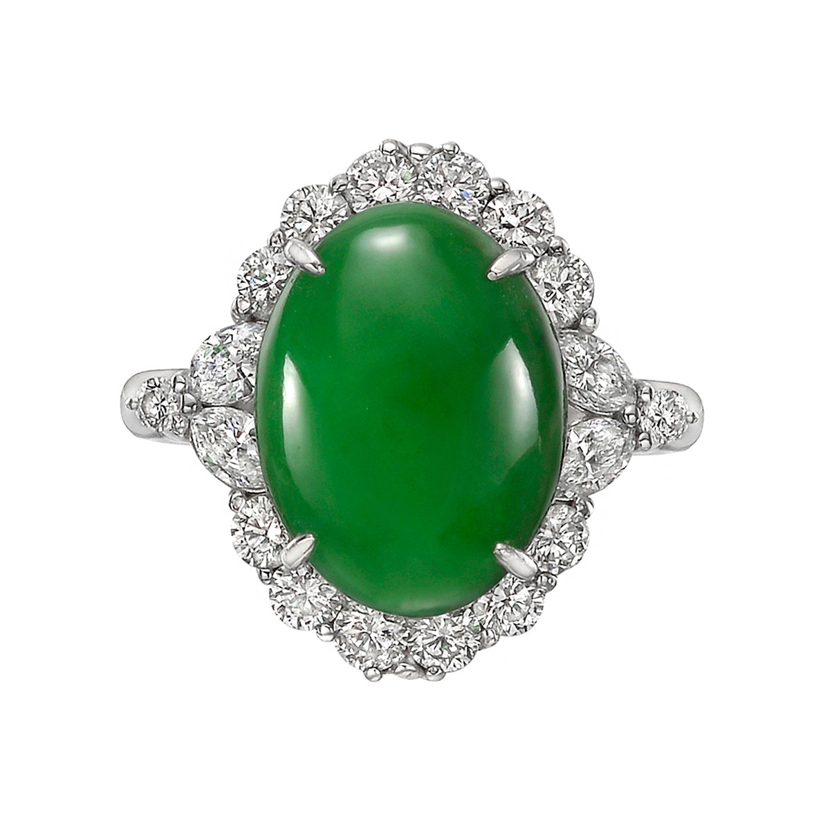 3.86ct Jade & Diamond Cluster Ring
