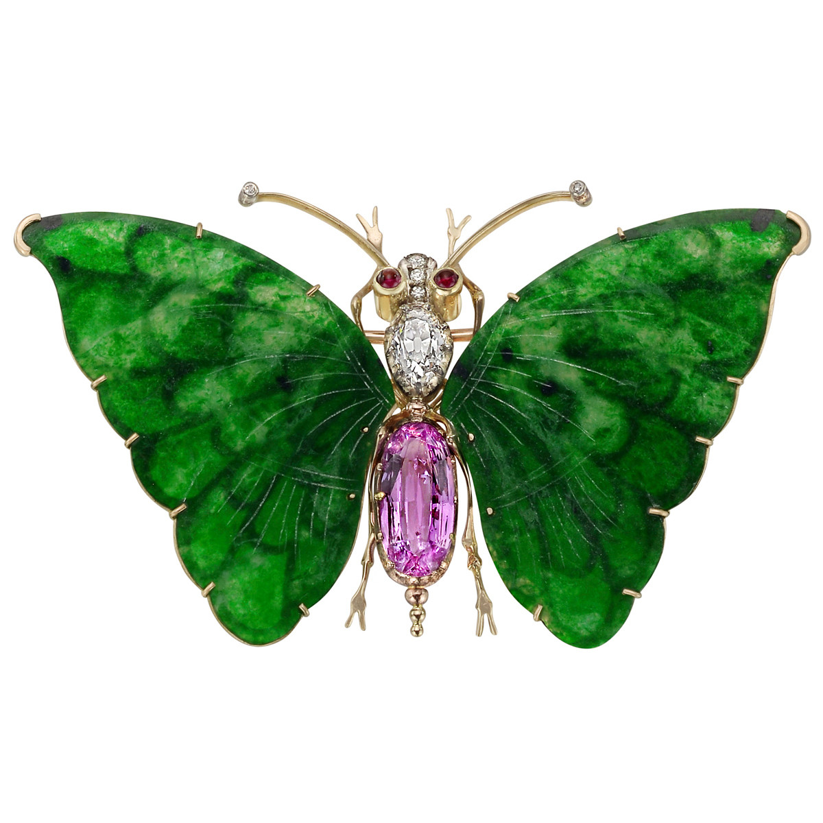 Jadeite, Pink Topaz & Diamond Butterfly Pin