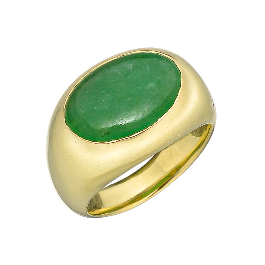 18k Yellow Gold Jade East-West Ring